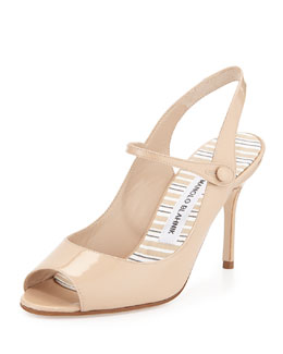 Tegna Patent Mary Jane Pump, Nude