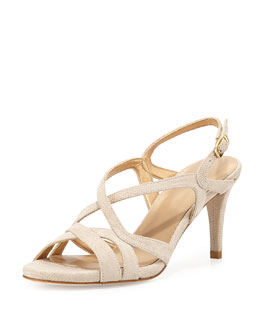 Axis Lizrd-Embossed Strappy Sandal, Moon