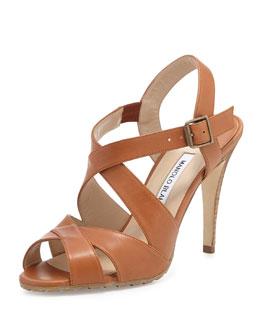 Etola Leather Crisscross Sandal, Luggage