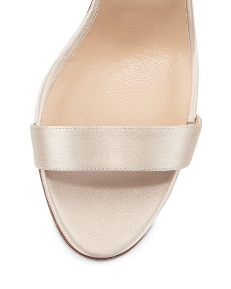 Chaos Pearly Ankle-Wrap Sandal, Champagne