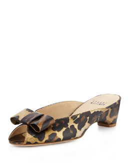 Candy Peep-Toe Printed Twill Mule, Jaguar