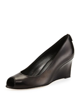 Loire Leather Peep-Toe Wedge, Black