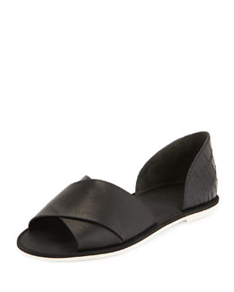 Ida Open-Toe Leather Flat, Black