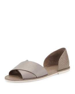 Ida Open-Toe Leather Flat, Woodsmoke