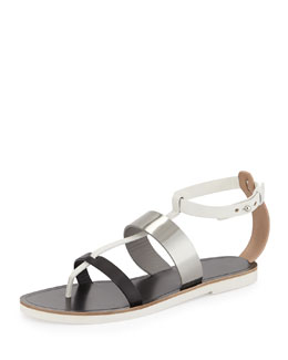 Crete Multicolor Leather Thong Sandal