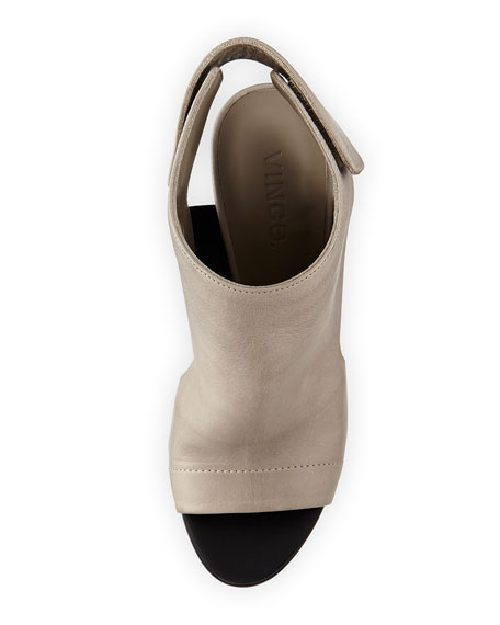 Anetta Covered Leather Sandal, Woodsmoke/Black
