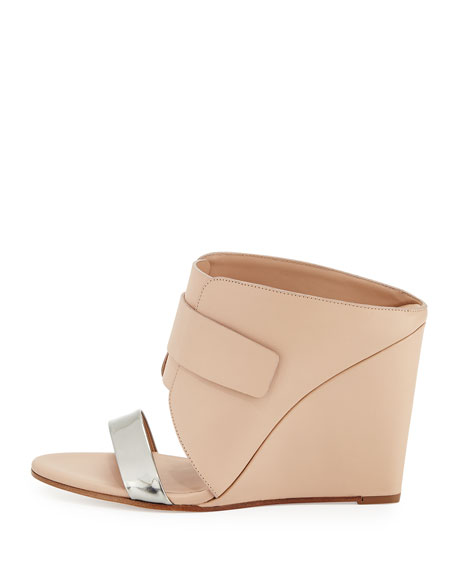 Karima Leather Wedge Mule, Pewter/Nude