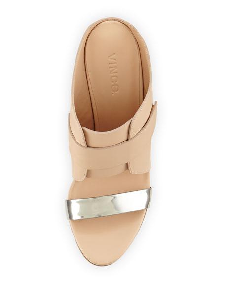 Karima Leather Wedge Mule, Pewter/Nude