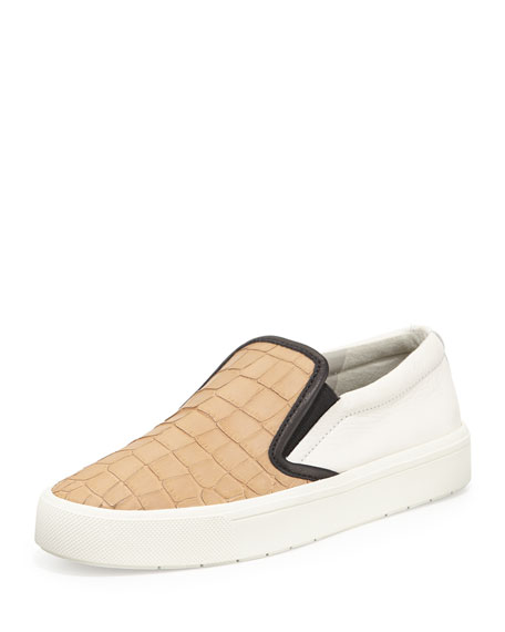 Banler Colorblock Leather Sneaker, Nude/Bone/Black