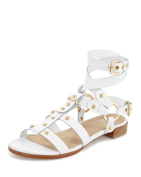 On-the-Run Leather Gladiator Sandal, White