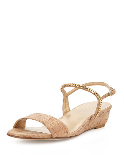 Sweeper Chain Cork Demi-Wedge Sandal, Gold