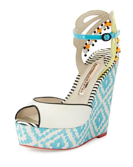 Lula Printed Wedge Sandal, Blue/White