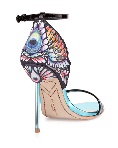 Flutura Peacock Ankle-Strap Sandal, Black/Multi