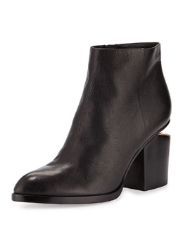 Gabi Tumbled Leather Ankle Boot, Black