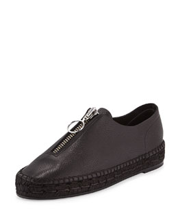 Devon Leather Platform Espadrille, Black