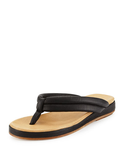 Aya Leather Thong Sandal, Black