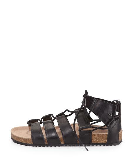 Pascal Leather Lace-Up Flat Sandal, Black