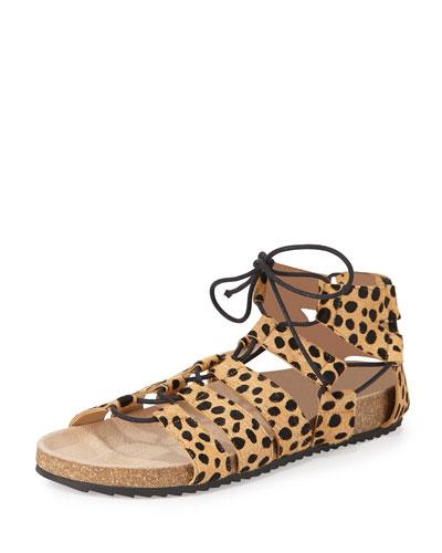 Pascal Animal-Print Lace-Up Sandal, Cheetah