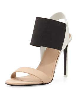 Gaudin Colorblock Leather Sandal, Nude/Black/Bone