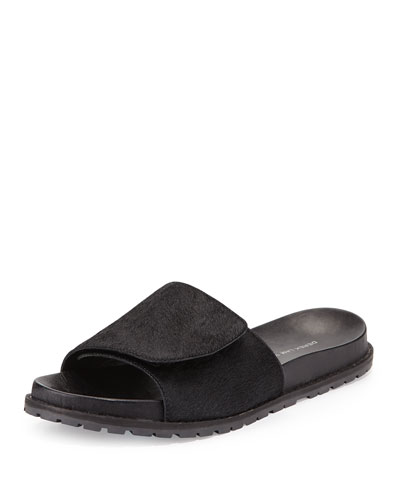 Spencer Calf Hair Slip-On Sandal, Black