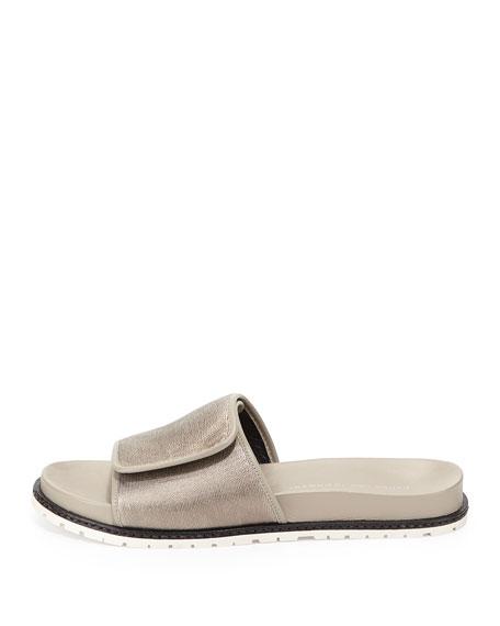 Spencer Metallic Slip-On Sandal, Pewter