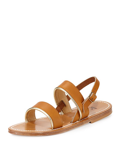 Barigoule Double-Band Sandal, Tan/Gold