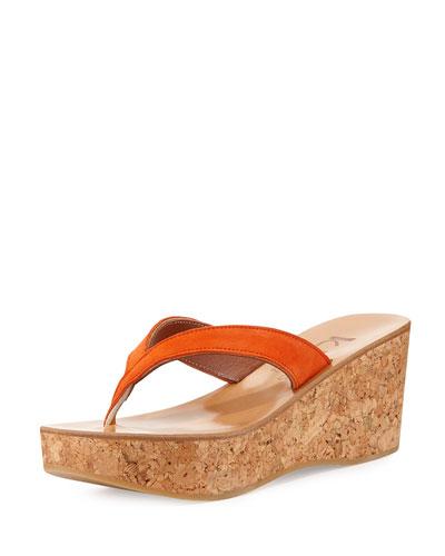 Diorite Cork Wedge Sandal, Naranja