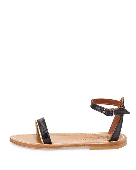 Laura Snake-Embossed Flat Sandal, Noir