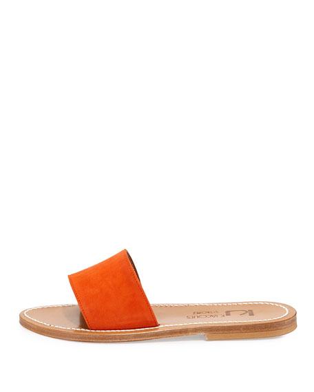 Anacapri Wide Band Slide Sandal, Velours Naranja