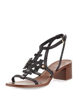 Phoebe Leather Logo Sandal, Black