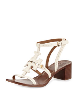 Phoebe Leather Logo Sandal, Ivory