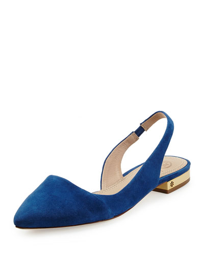 Classic Point-Toe Slingback Flat, Navy