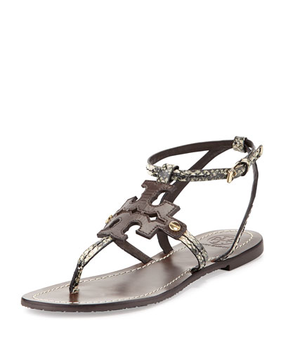Phoebe Snake-Embossed Flat Sandal, Brown