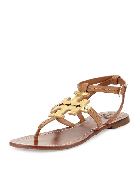 f2cb3febf1310f Tory Burch Phoebe Leather Flat Sandal
