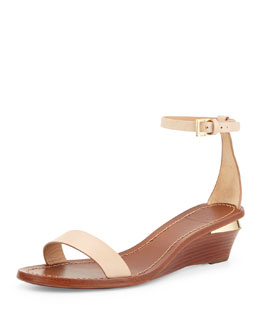 Maya Leather Wedge Sandal, Camelia Pink