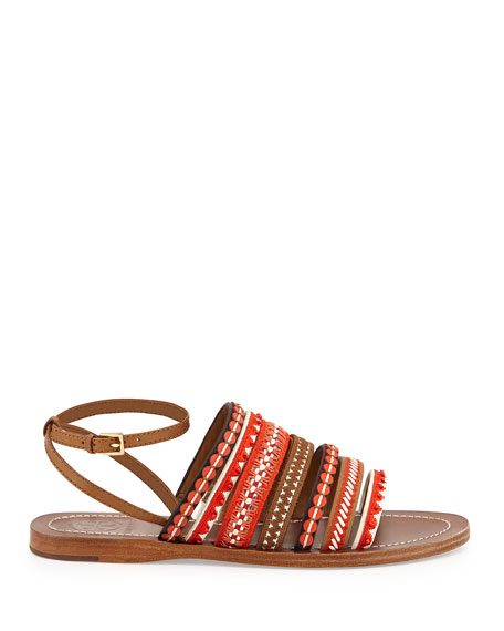 b1ec04471488ef Tory Burch Embroidered Leather Sandal