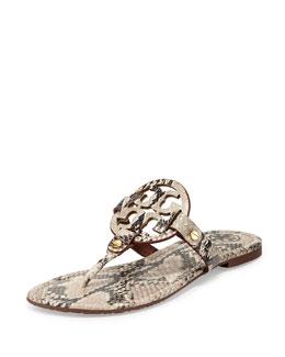Miller Snake-Print Logo Thong Sandal, Natural