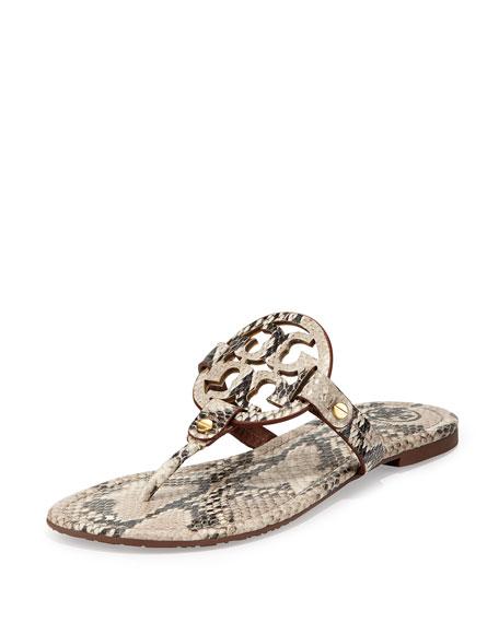 fbb483ed830f8 Tory Burch Miller Snake-Print Logo Thong Sandal