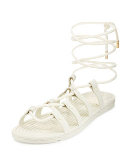 Rope Lace-Up Rubber Sandal, Ivory