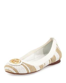 Caroline Woven Ballerina Flat, Oatmeal/White