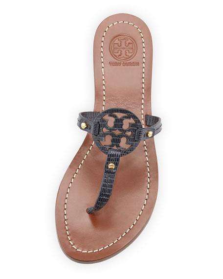 66aee64aa00b9 Tory Burch Mini Miller Lizard-Embossed Flat Sandal