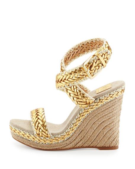 Paloma Woven Metallic Wedge Sandal, Platinum