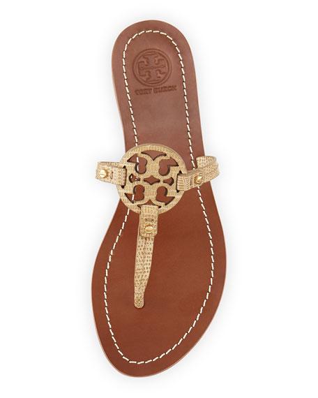 c5d717fd471aeb Tory Burch Mini Miller Snake-Embossed Flat Sandal