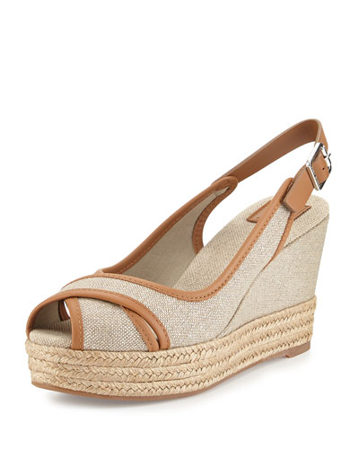 Majorca Peep-Toe Wedge, Royal Tan