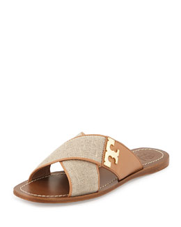 Culver Canvas Crisscross Sandal, Natural/Blush