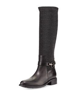 Urope Elastic-Loop Knee Boot, Black