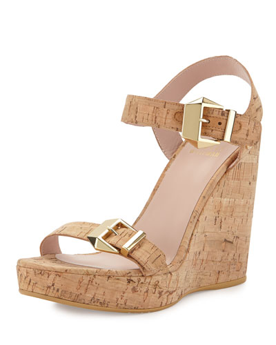Twofer Allover-Cork Wedge, Natural