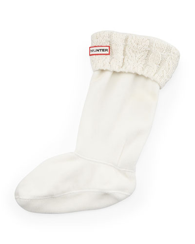 Six-Stitch Cable Boot Sock, Natural White