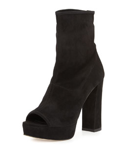 Koko Suede Peep-Toe Boot, Black
