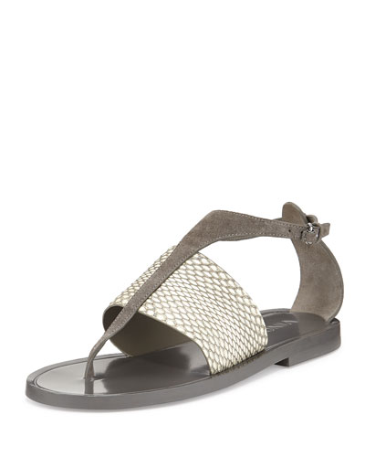 Thea Suede Thong Sandal, Charcoal/White